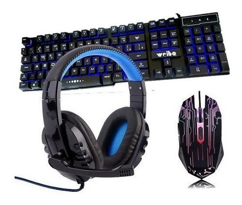 Kit Gamer Teclado Iluminado + Headset Usb + Mouse 2400 Dpi