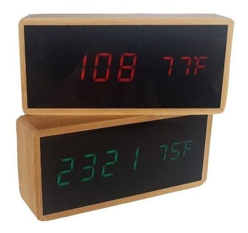 Relógio Despertador Com Data E Temperatura Bambu Led