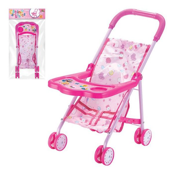 Carrinho Infantil Boneca Bebê Dobrável Rosa Menina Presente