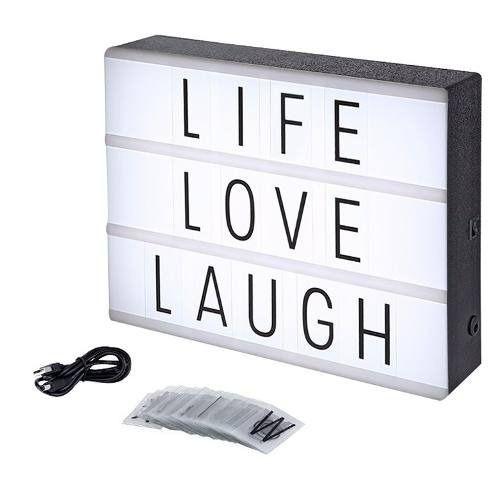 Letreiro Quadro Led Light Box Cinema A4 Com 60 Letras Numero