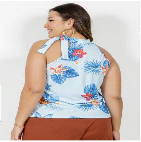 Blusa Floral Azul Plus Size com Amarração XXG