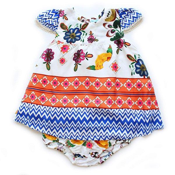 Vestido Chevron Floral Baby