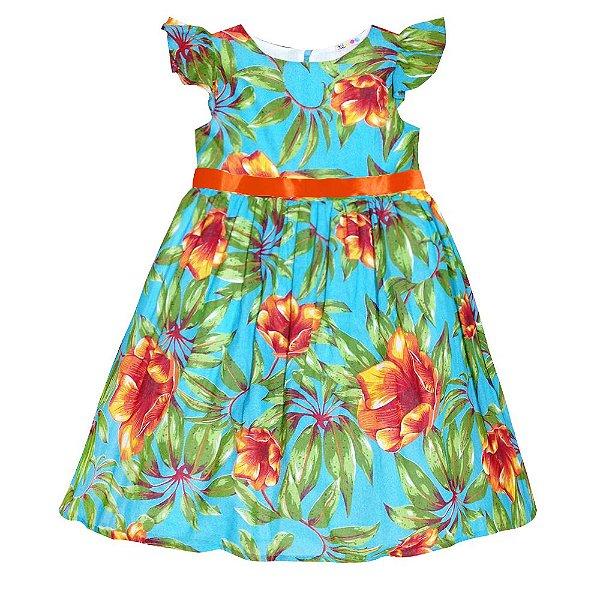 Vestido Junino Floral Laço
