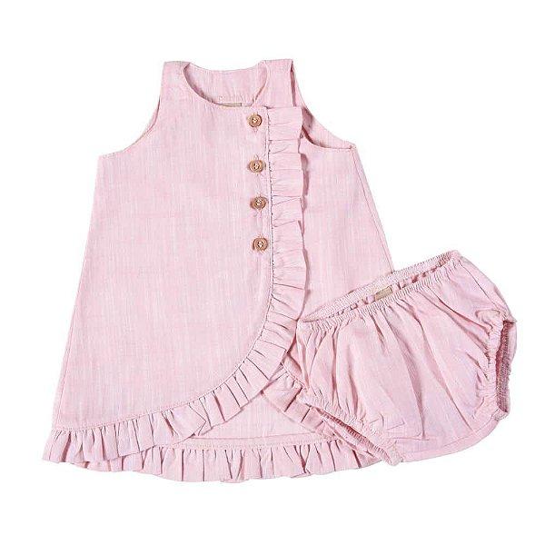 Vestido Frufru Rosé