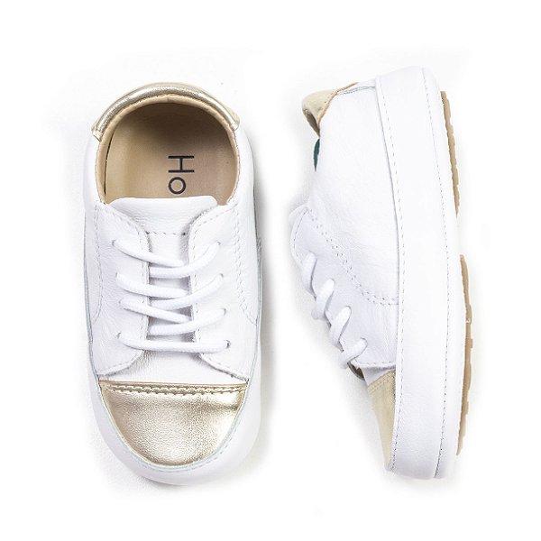 Tênis Baby Ouro / Branco