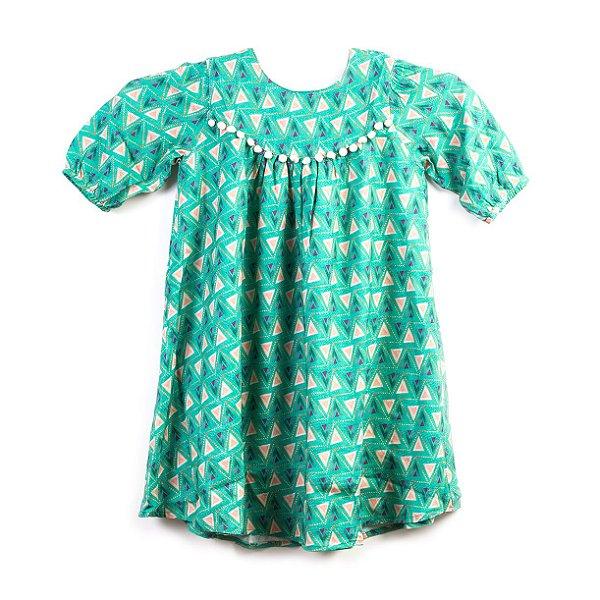 Vestido Triângulo Pompom Verde