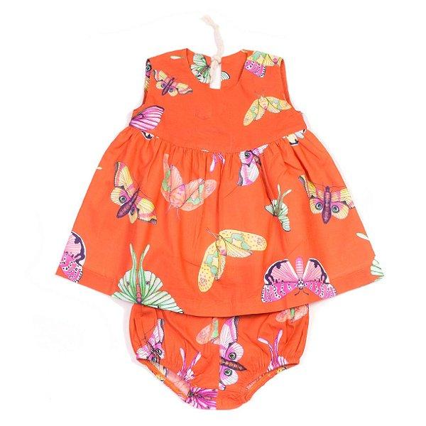 Vestido Baby Borboletas Coral