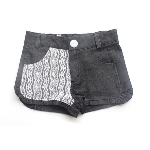 Short Jeans Preto Rendinha