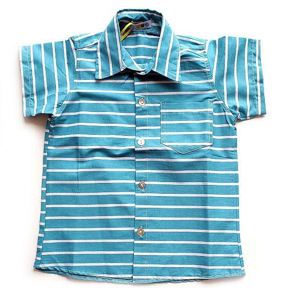 Camisa de Botão Listras Turquesa