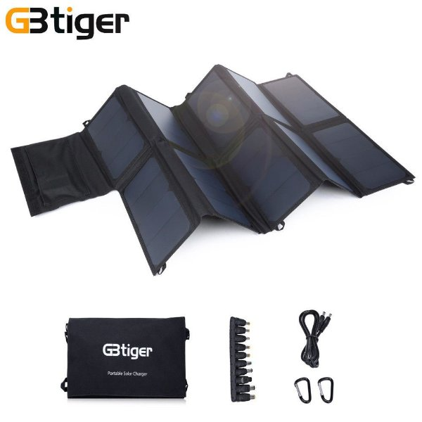 Painel Solar Placa Portátil Dobrável Gbtiger 65w Usb 12v 19v