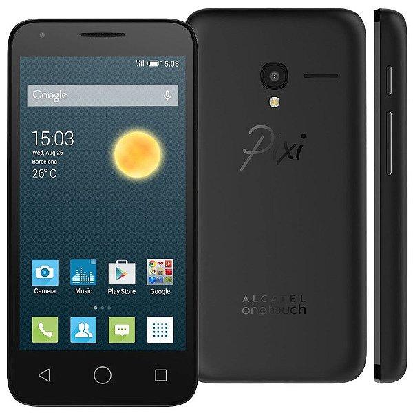 """Smartphone Alcatel OneTouch Pixi3 Preto com Tela 4.5"""", Dual Chip, TV Digital, Câmera 8MP, Android 4.4, 3G, Bluetooth e Processador Dual Core de 1.3GHz"""