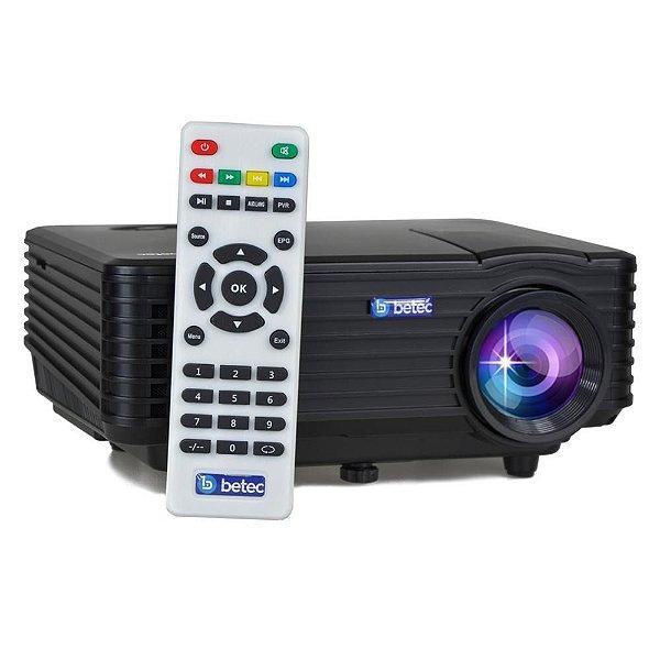MINI PROJETOR LED PORTÁTIL BETEC - 1200 LUMENS - 120 POL. - ENTRADA HDMI, VGA, AV-RCA E USB