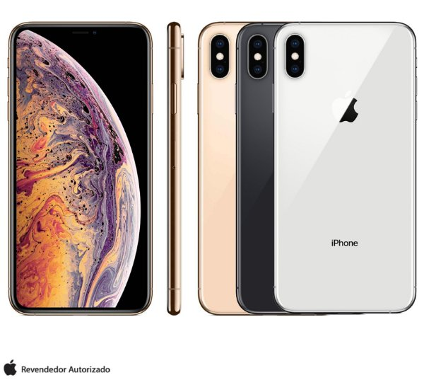 "iPhone XS Max com Tela de 6,5"", 4G, 64GB 256GB ou 512GB e Câmera de 12 MP - Apple"