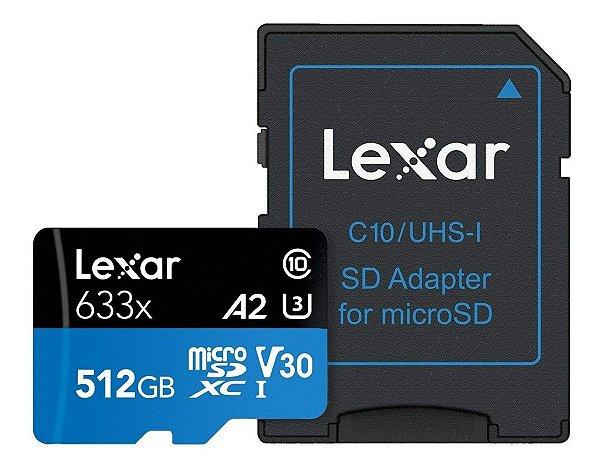 Cartão de Memória Micro Sd Sdxc Lexar Class10 A2 U3 4k 100mb/s 633x