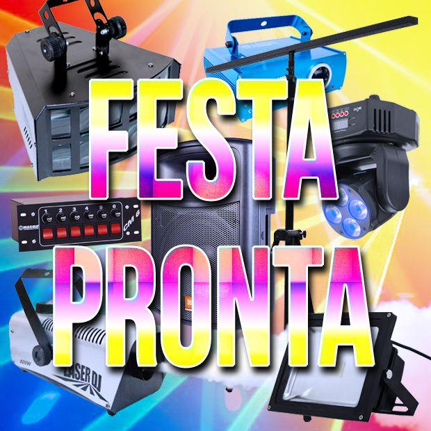 COMBO FESTA PRONTA - Kit Mega + Caixa de Som JBL + Luz Negra (Aluguel 24h)