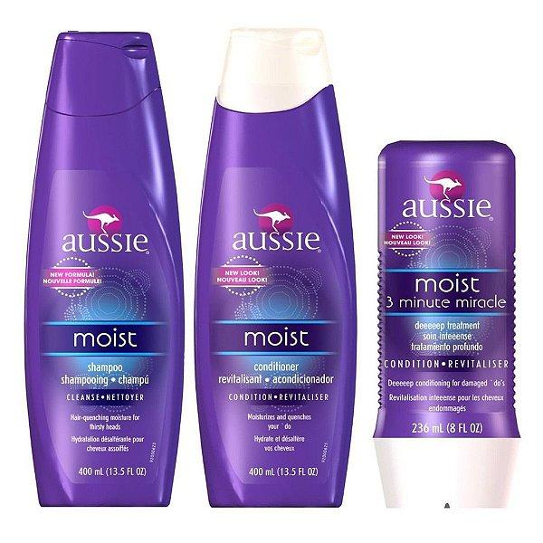 Kit Aussie Moist Shampoo + Condicionador 400ml + Mascara 3 Minute - Aussie