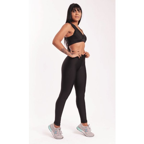 Conjunto Fitness Poliamida Black  (Calça + Top)