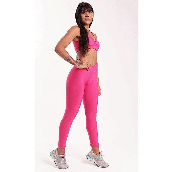 Conjunto Fitness Poliamida Pink (Calça + Top)