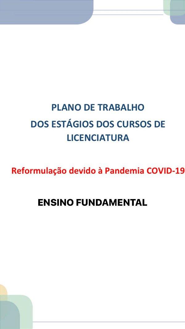 PLANO DE TRABALHO DOS ESTÁGIOS DOS CURSOS DE LICENCIATURA REFORMULAÇÃO DEVIDO À PANDEMIA COVID-19 ESTÁGIO II ENSINO FUNDAMENTAL