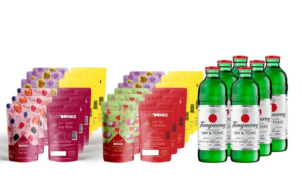 Kit Fruits&Tonic (G&T): 06un Gin Tanqueray & Tonic + 12un Easy Drinks Frutas