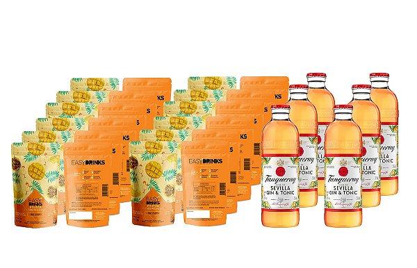 Kit Fruits&Tonic Sevilla (G&T): 06un Gin Tanqueray & Tonic Sevilla + 12un Easy Drinks Frutas Tropicais