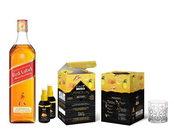 Kit Penicillin + Johnnie Walker Red Label 1L + Brinde 2 Copos Whisky