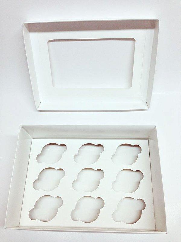 Caixa Transporte 9 Mini Cupcakes - Branca