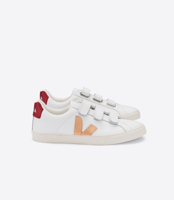 Tênis 3-Lock Leather Extra White Venus Marsala