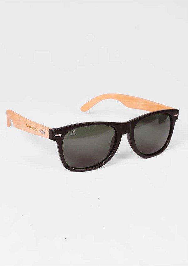 Óculos de sol loveboard clássico preto madeira polarizado