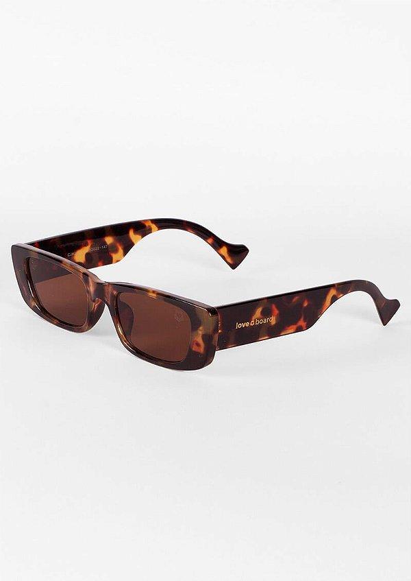 Óculos de sol loveboard retangular tartaruga