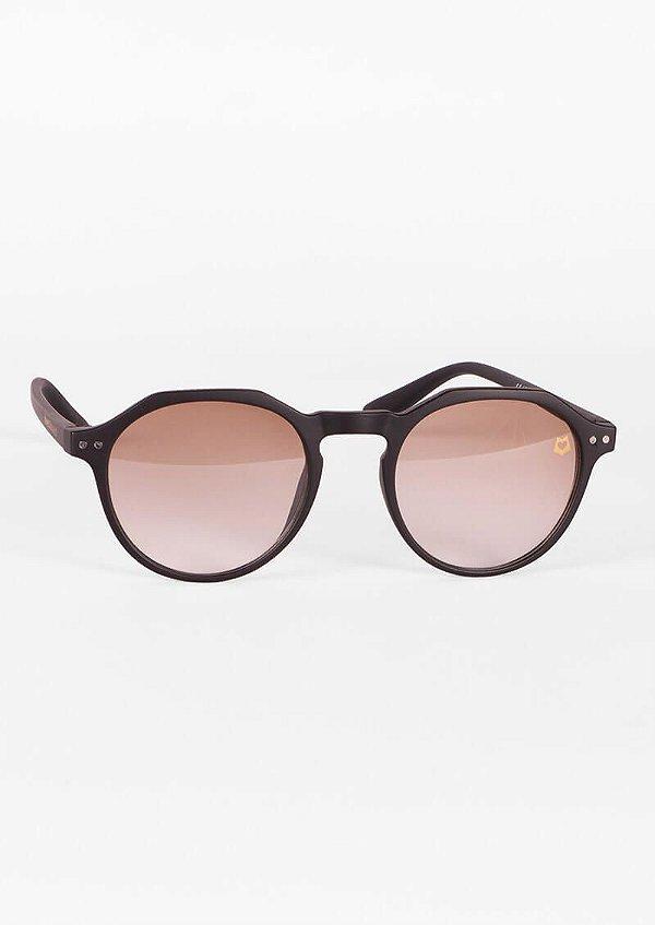 Óculos de sol redondo retrô marrom claro