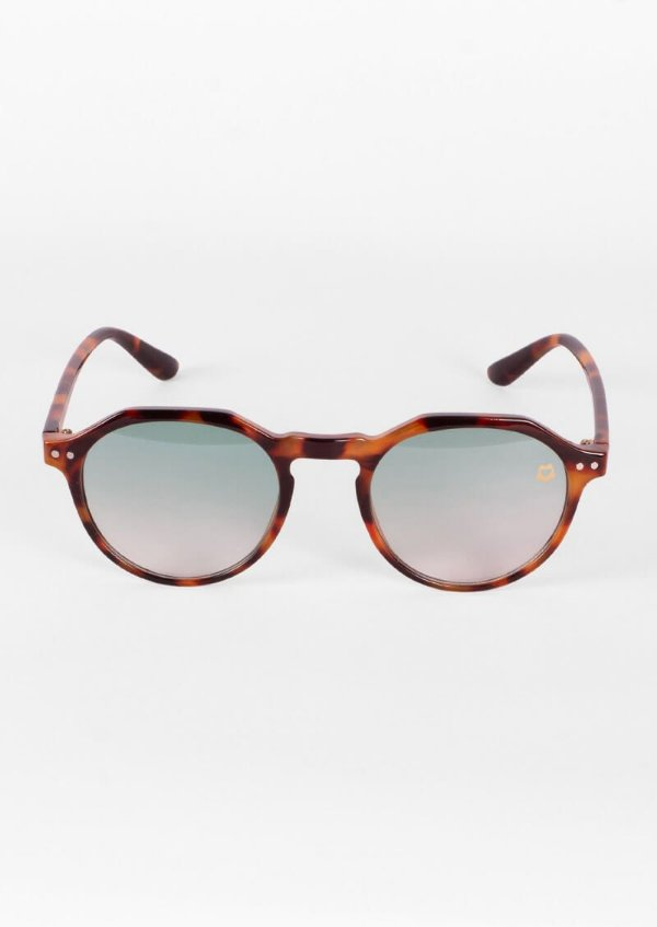 Óculos de sol redondo retrô marrom com azul claro