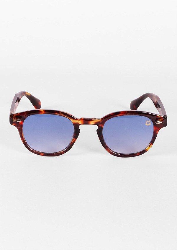 Óculos de sol clássico retrô tartaruga lente azul