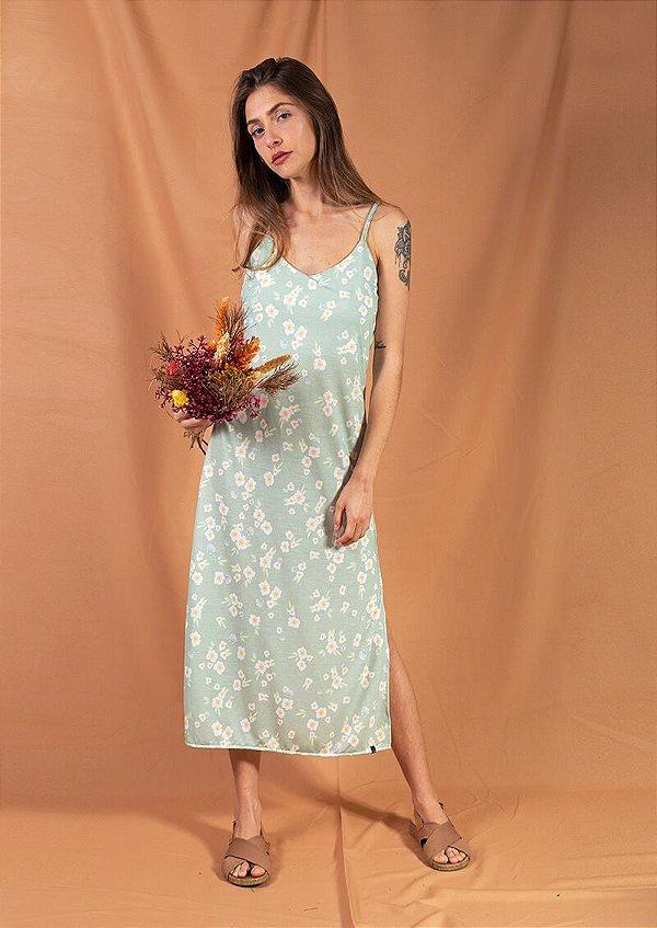 Vestido midi recortes floral verde romântico