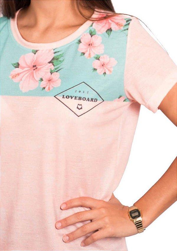 Blusa babylook rosa com floral nós podemos