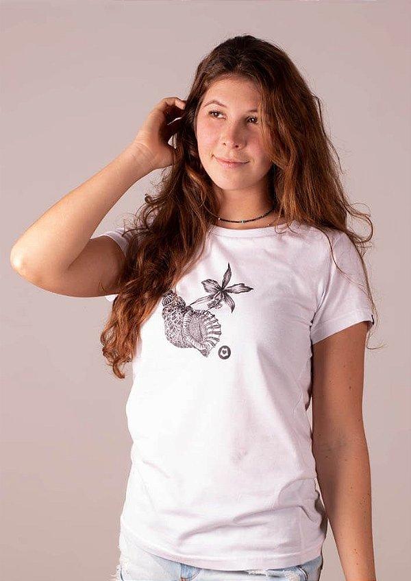 Babylook branca ecológica concha flor Maldivas