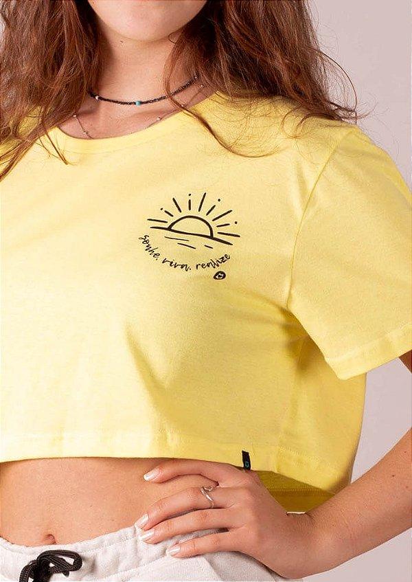 Cropped amarelo sonhe viva realize