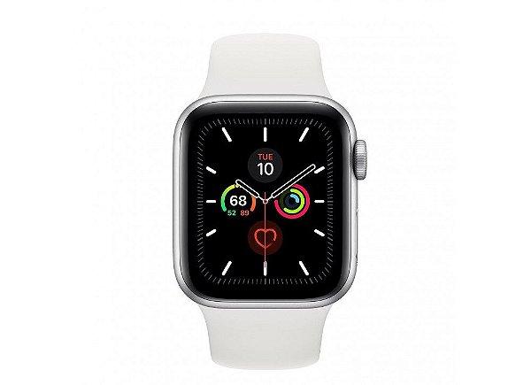 Apple Watch Serie 5 Novo, 40 mm Prata com Pulseira Branca Esportiva: Modelo GPS - ZGYFBSBBB