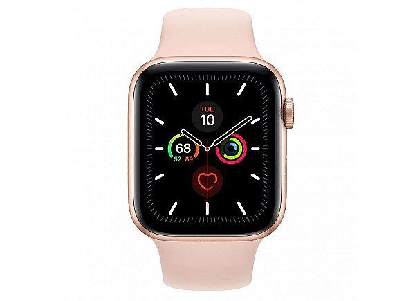 Apple Watch Serie 5 Novo, 44 mm Dourado com Pulseira Rosa Esportiva: Modelo GPS - RANEFSGAP