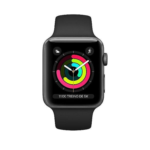 Apple Watch Serie 3 Novo, 38 mm Cinza Espacial com Pulseira Preta Esportiva - ENZN4A4BK