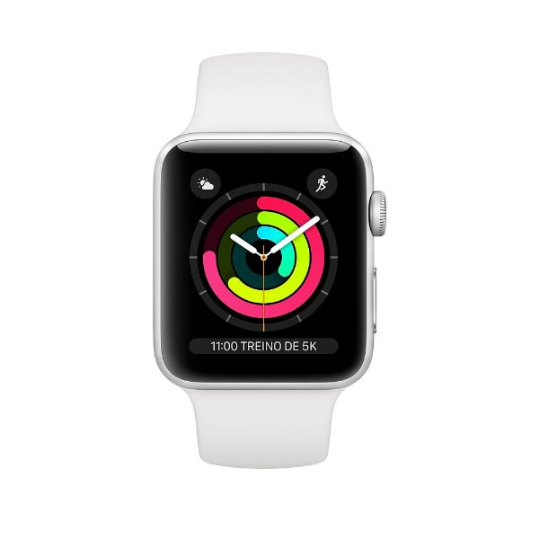 Apple Watch Serie 3 Novo, 38 mm Prata com Pulseira Branca Esportiva - 5MVXPUNGL