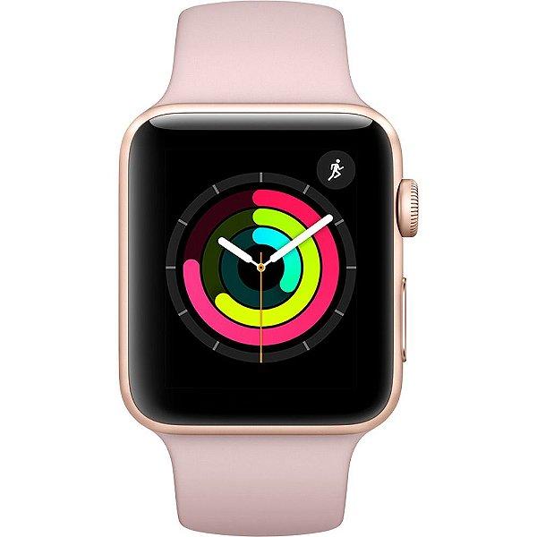 Apple Watch Serie 3 Novo, 38 mm Rose com Pulseira Rosa Esportiva - WTVBC8J7P
