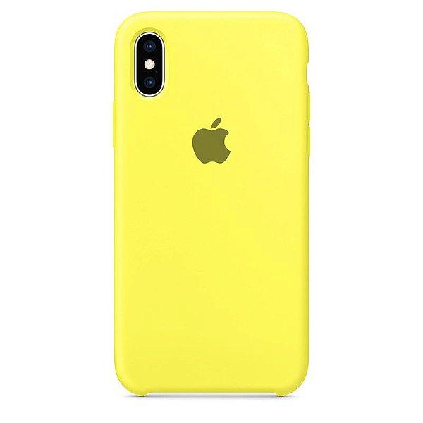 Case Capinha Amarelo Limão para iPhone X e XS de Silicone - O16GIMVTE