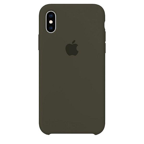 Case Capinha Verde Musgo para iPhone X e XS de Silicone - 4XHOPFOX3