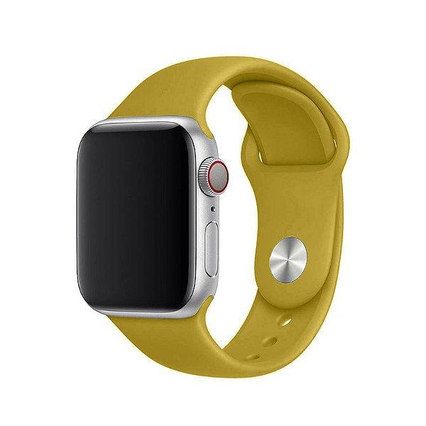 Pulseira Amarelo Mostarda para Apple Watch Serie (1/2/3/4/5/6/SE) de Silicone - N7KR8DYNR
