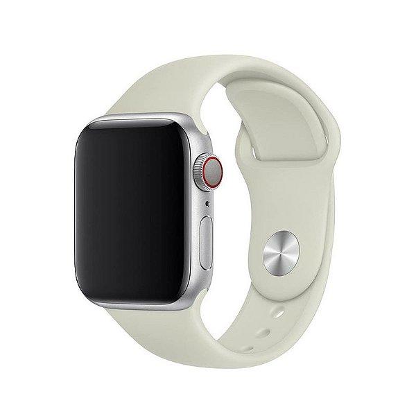 Pulseira Branco Off-White para Apple Watch Serie (1/2/3/4/5/6/SE) de Silicone - TS487C8MD