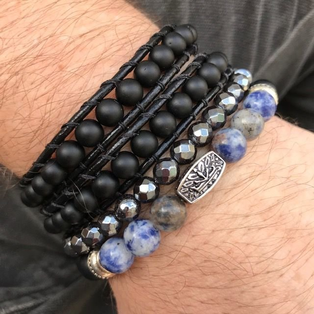 Pulseiras Kit 3 em 1 Pedra Lápis Lazuli & Murano Italiano [pedras naturais]
