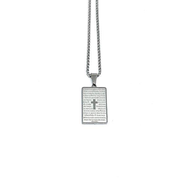 Colar Tabuleiro Oração Pai Nosso Minimalista aço Premium [pingente 2,5cm]