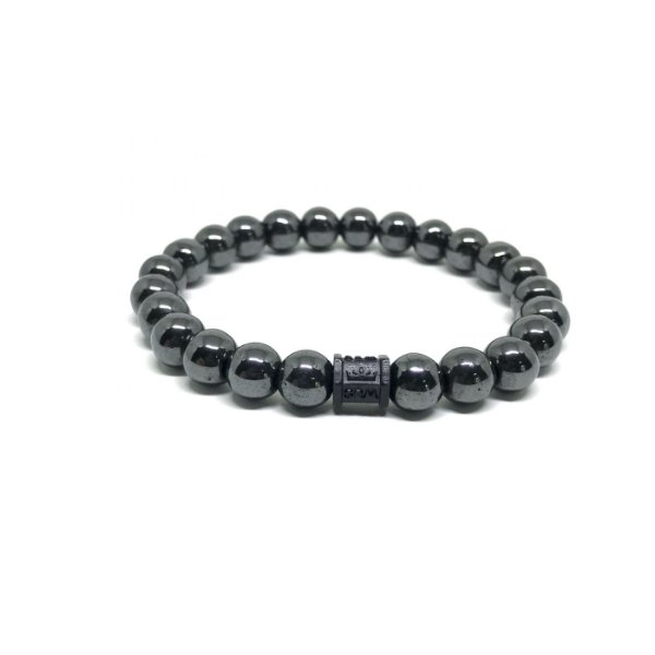 Pulseira Pedra Hematita Pingente Coroa Black [pedra 8mm]