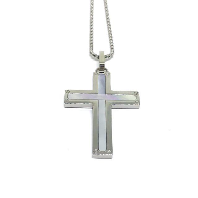 Crucifixo em aço Cravejado de Madri Pérola